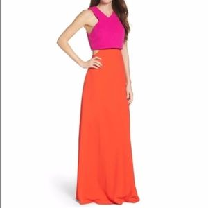 Jill Stuart Two Toned Color Block Gown with Cutout